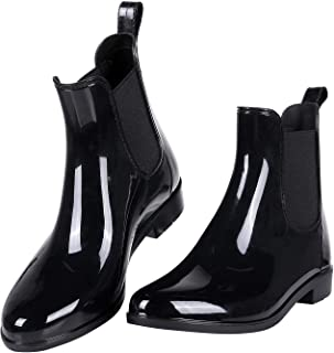 Evshine Women's Short Ankle Rain Boots Lightweight Chelsea Rain Boots Rubber Waterproof Booties