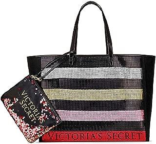 Bling Stripe Sequin Carryall Tote W Mini Bag Set Black/Red