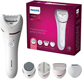 PHILIPS Series 8000 Epilator, Wet and Dry Cordless Hair Removal and Skin Care System, For Legs, Body with 9 Accessories In...
