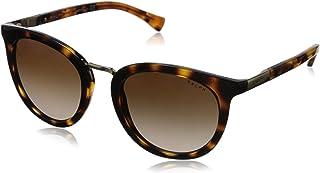 نظارات شمسية دائرية الشكل للنساء من بولو رالف لورين، بني وبني داكن، 52 ملم - 0RA5207