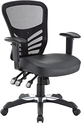 Modway Articulate Mesh Office Chair with Fully Adjustable Vegan Leather Seat In Black