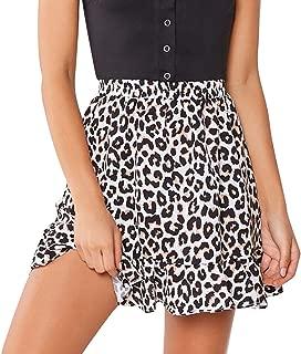 Women Skirts Leopard Print Midder Elastic Waist Ruffles Casual Fashion Mini Skirt Straight Dress