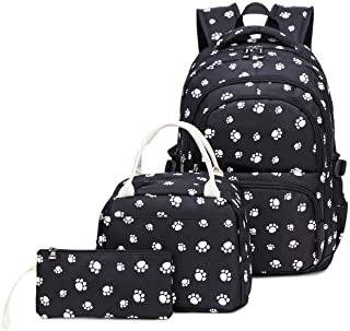 Kids Girls Backpack Elementary School Paw Prints Bookbag 3pcs Set with Lunch Bag (Black)
