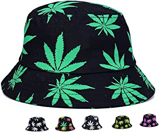Pogah Bucket Hat - Marijuana Weed Fishing Hat - Unisex Sun Uv Protection Wide Brim Flat Sport Cap Hat for Outdoor Running Travel