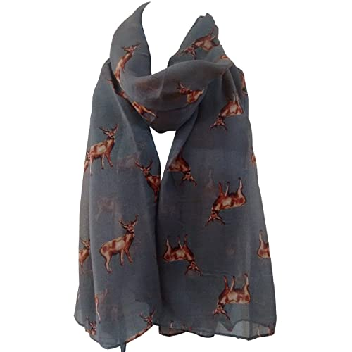 511c15a86 GlamLondon STAGS Print Scarf Big Deer Reindeer Stag Womens Party Gift  Christmas Wrap