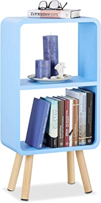 Relaxdays Étagère 2 compartiments bibliothèque bois MDF 4 pieds commode tablette table chevet, bleu