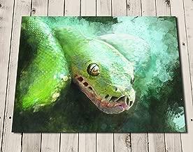 Snake Art Print - Tree Python Painting - Green Tropical Wall Art Print