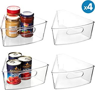 "Lazy Susan Organizer, Set of 4 Clear Transparent 10.3"" x 9.5"" x 4"" Plastic Corner Kitchen Cabinet Storage Bins, 1/8 Wedge, 4"