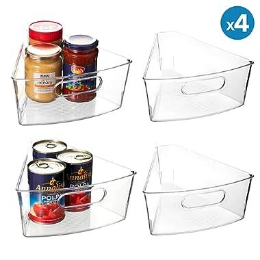 "EAMAOTT Lazy Susan Organizer, Set of 4 Clear Transparent 10.3"" x 9.5"" x 4"" Plastic Corner Kitchen Cabinet Storage Bins, 1/8 Wedge, 4  Deep Container - Food Safe, BPA Free"