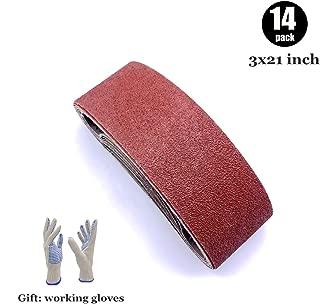 Sanding Belts 3x21 Assorted, Aluminum Oxide Sandpaper for Belt Sander 3 x 21, 60 80 100 120 180 240 400 Grits,14 Pack(3x21 Inch)