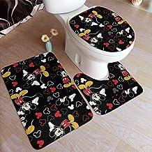 Juego de 3 tapetes para baño, diseño de Mickey Mouse, color negro, antideslizantes, tapete en forma de U y cubierta para tapa