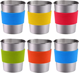 Ruisita 6 Pack 12 oz Stainless Steel Cups with Silicone Sleeve Metal Pint Tumbler Unbreakable Drinking Cups for Kids and A...