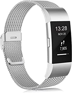 Findway Replacement Bands Compatible with Fitbit Charge 2, Stainless Steel Metal Replacement Strap Wrist Band Compatible f...