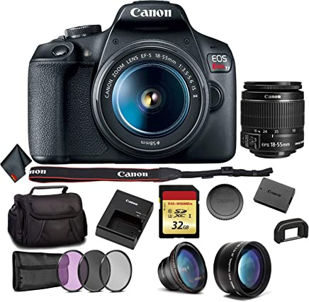 $432 Get Canon EOS Rebel T7 DSLR Camera with 18-55mm Lens Bundle with 32GB Memory Card + 3pc Filter Kit + Angle Lens + Telephoto Lens and More