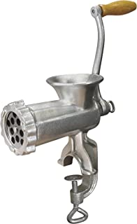 Weston #10 Manual Tinned Meat Grinder and Sausage Stuffer , 4.5mm & 10mm plates, + 3 sausage funnels,Silver