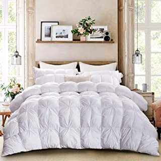 MoMA White Pinch Pleat Queen Comforter - Duvet Insert Comforter - Elegant Bedding for Comfort - Soft Comforter - Hotel Style Down Alternative Comforter - Pinched Twisted Flower Design Duvet - 86