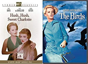 Davis Studio Classic 60's Hush Hush Sweet Charlotte Bette DVD & The Birds Alfred Hitchcock Thriller Double Feature Movie Bundle Collection