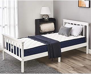 Lit Simple Adult en Bois 1 Place Design Comfort 197,5 x 98 x 82 cm, Blanc