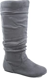 Top Moda Data-1 Women's Shoes Cute & Comfort Round Toe Flat Heel Slouchy Mid Calf Boot