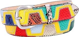 ESPERANTO Cintura in Pitone, Struzzo e pelle Bovina altezza 4 cm Lavorazione patchwork - Soggetto: Yellow/Red Greek