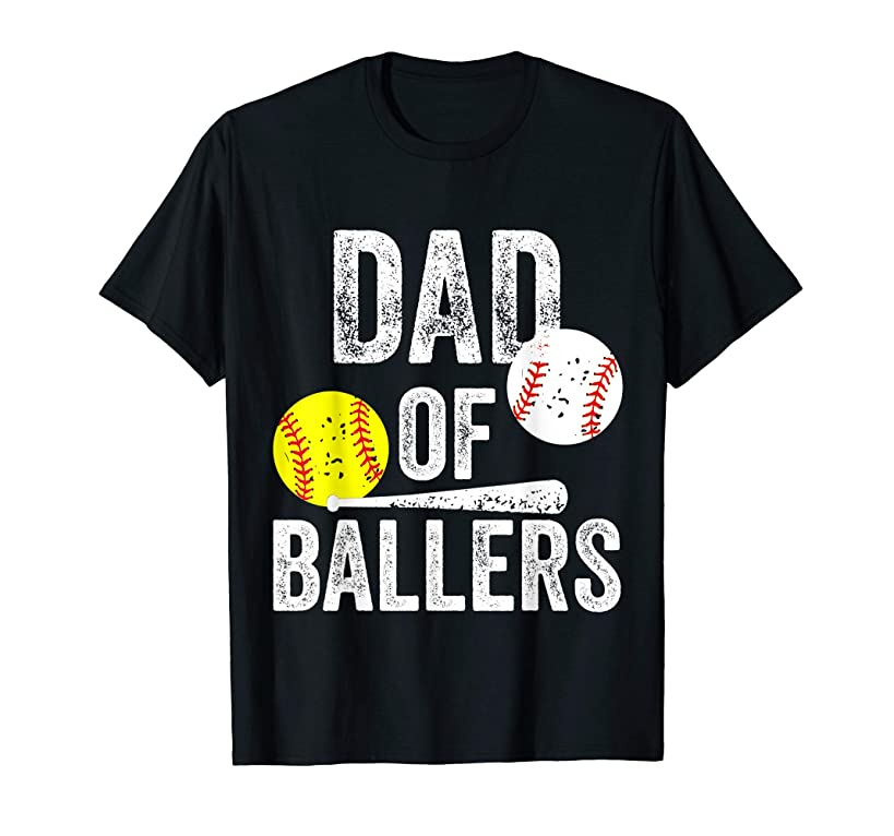 Mens Dad of Ballers T Shirt Funny Baseball Softball Gift from Son