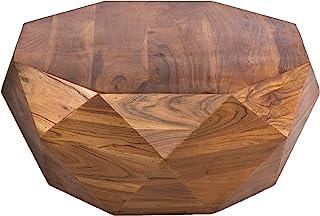 The Urban Port Diamond Shape Acacia Wood Coffee Table with Smooth Top, Dark Brown