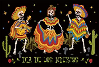 Leowefowa 10x6.5ft Dia De Los Muertos Backdrop Mexican Fiesta Day of The Dead Photography Background Cartoon Dancing Singing Sugar Skulls Cactus Illustration Fiesta Carnival Party Banner Wallpaper