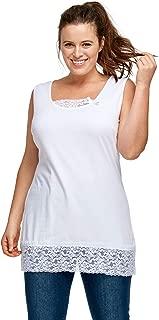 Ellos Women's Plus Size Lace Trim Tunic Tank