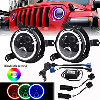 DDUOO Jeep JL Headlights, 7inch LED Muilti-color RGB Halo Headlights with 9inch JL Headlight Adapter All-Directional Mounting Bracket for Jeep Wrangler JL JLU 2018 2019
