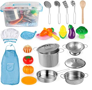 آشپزخانه کودکان و نوجوانان D-FantiX وانمود می کنند اسباب بازی های لوازم آشپزخانه Playset لوازم آشپزخانه مجموعه ای از ظروف قابلمه و قابلمه های استیل ضد زنگ ، پیش بند آشپزی کلاه آشپزی اسباب بازی های گیاهی برای کودکان و نوجوانان پسر بچه ها