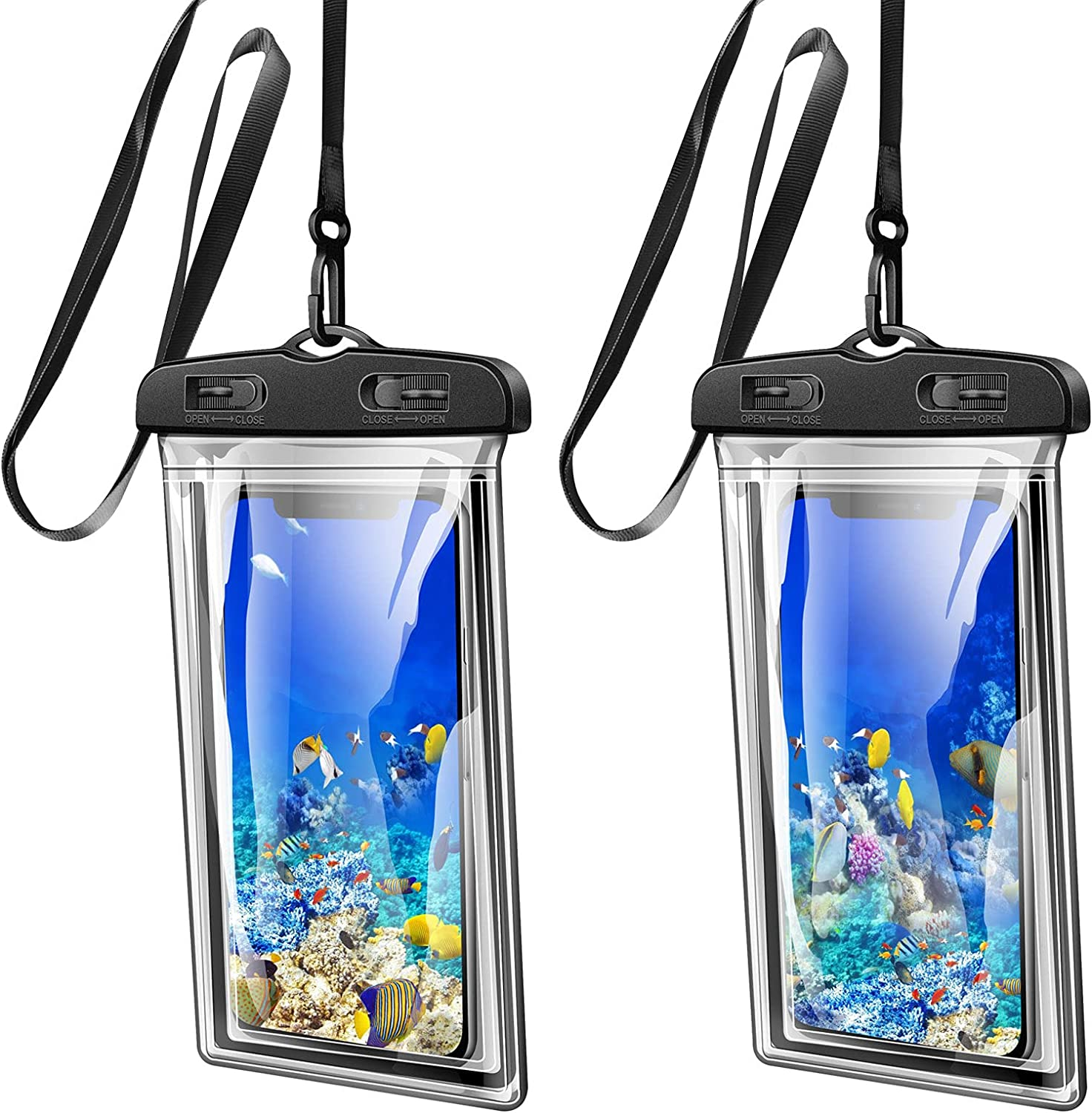 [2 Pack] Waterproof Phone Case Dry Bag Pouch, for Galaxy S20 Ultra S10 Plus S10 E S9 S8 Plus iPhone 12 Pro Max, Xs Max, XR, X, 8,7 Plus, 6S Plus, Note10 9 8 6 5, Pixel 4 XL 3 2