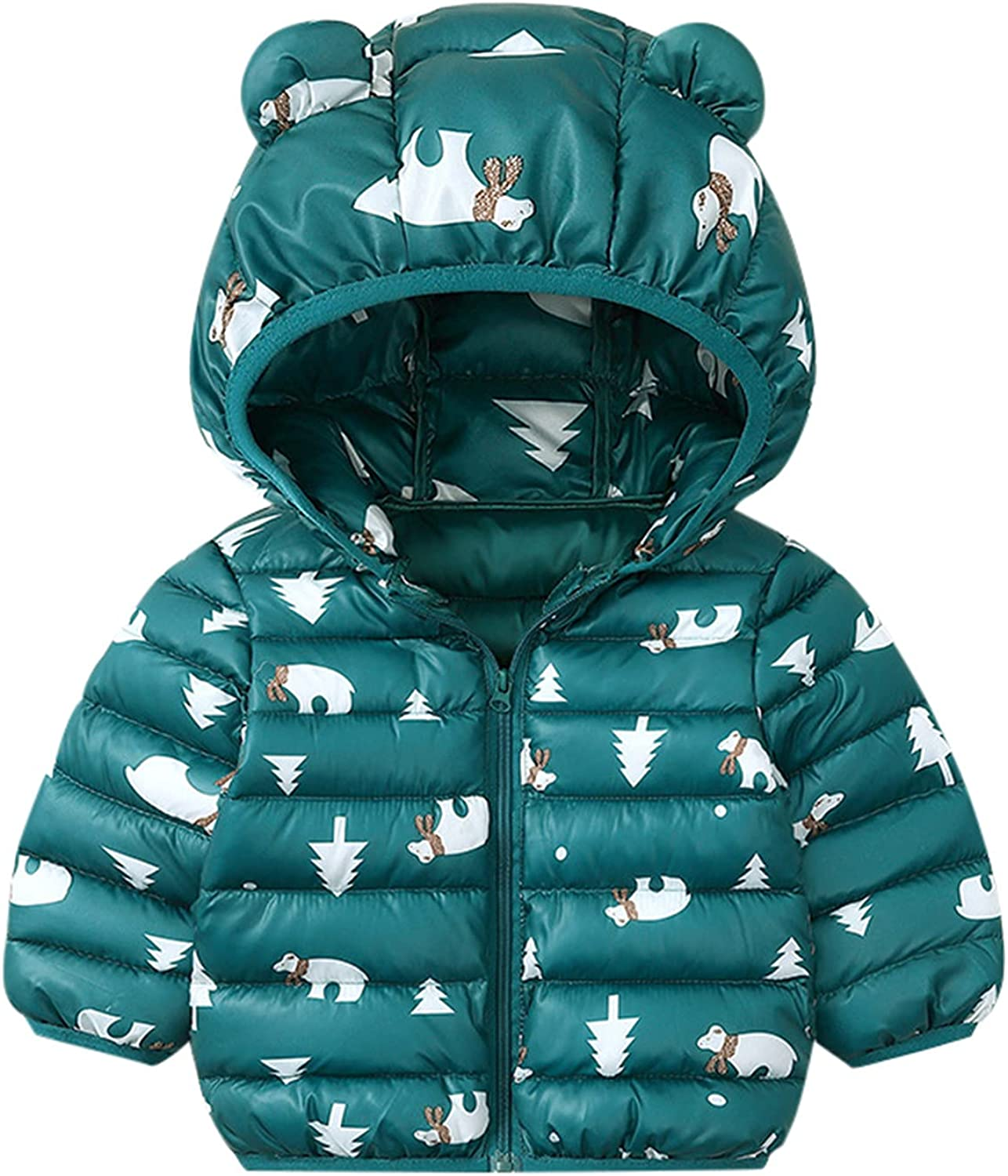 YOYO.RI Toddler Large special price Baby Bear Ear Hooded Excellent Girl Coat - Infant Bo Print