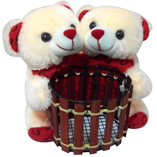 Saugat Traders Birthday Gifts Couple Teddy Soft Toy Pen Stand 16 Cm For Girlfriend