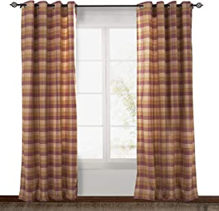 ChadMade Check Plaid Cotton Nickel Grommet Eyelet Blackout Lined Window Curtain Panel Drapes (1 Panel) Rust Pink 50Wx63L Inch