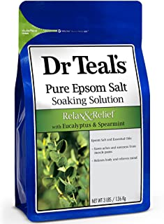 Dr Teal's Pure Epsom Salt Soaking Solution to Relax and Relief with Eucalyptus & Spearmint, 1.36 kg
