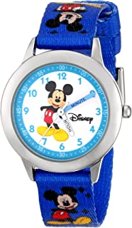 Disney Kids' W000014 Time Teacher Mickey Mouse Stainless Steel Watch With Printed Nylon Band