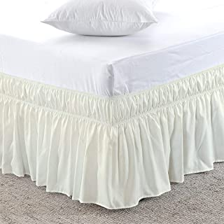 KP Linen Wrap Around Bed Skirt- 18 Inch Drop Poly-Cotton Silky Soft & Wrinkle Free Classic Stylish Look in Your Bedroom Ivory Solid, Twin Size in All Bed Sizes and Colors
