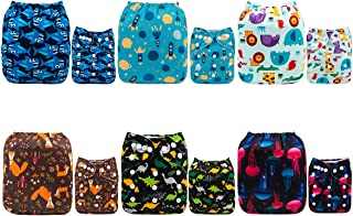 ALVABABY Cloth Diaper, One Size Adjustable Washable Reusable for Baby Girls and Boys 6 Pack with 12 Inserts (boy Color 6DM39, All in one)