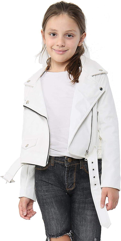 Kids Girls safety Jackets Designer's PU Leather Zip Biker Up Jacket Bel online shopping