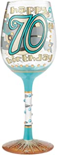 Enesco 6000740 Designs by Lolita Hand-Painted Artisan, 15 oz. 70th Birthday Wine Glass, Multicolor