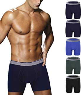 Ddgoo Men's Comfortable Bamboo Fiber Boxer Briefs Ultra Soft Comfy Breathable Underwear with Fly 4 or 5 Pack