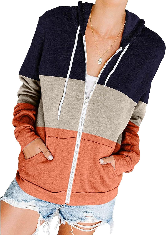 Nanyknighty Women Long Sleeve Zip-Up Hoodie Jacket Casual Sweatshirt Coat