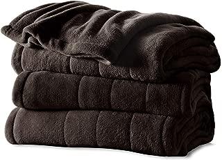 Sunbeam Channeled Soft Microplush Electric Heated Warming Blanket Queen Walnut Brown Washable Auto Shut Off 10 Heat Settings