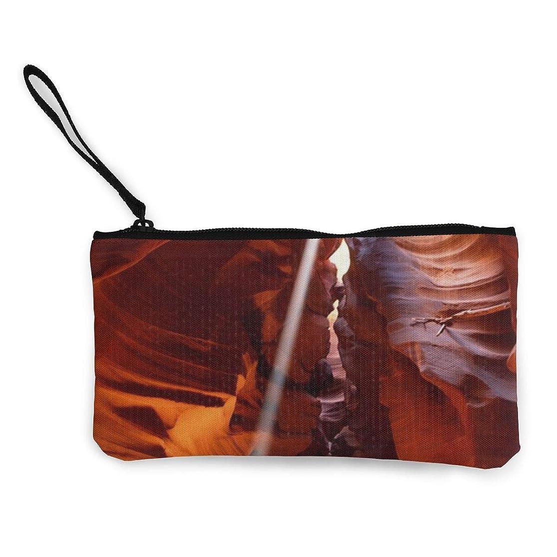 管理しますそのかまどErmiCo レディース 小銭入れ キャンバス財布 スロットキャニオン 小遣い財布 財布 鍵 小物 充電器 収納 長財布 ファスナー付き 22×12cm