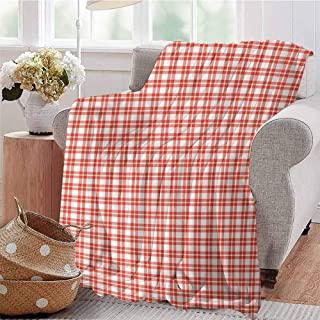 SSKJTC Printing Artwork Blanket Colored and Checkered Country Picnic Pattern Repeating Squares Stripes Modern Vermilion White Couch Bed Napping Reading Recliner W59 xL71