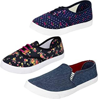 WORLD WEAR FOOTWEAR Women's Multi-Coloured Canvas Casual Shoes/Sneakes/Moccasins - Pack of 3 (Combo-(3)-763-611-619)