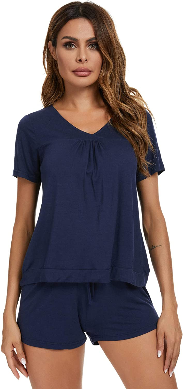 Houmagic Women/'s Short Sleeve Pajama Short Sets V-Neck Sleepwear Petite Plus Size S-4XL