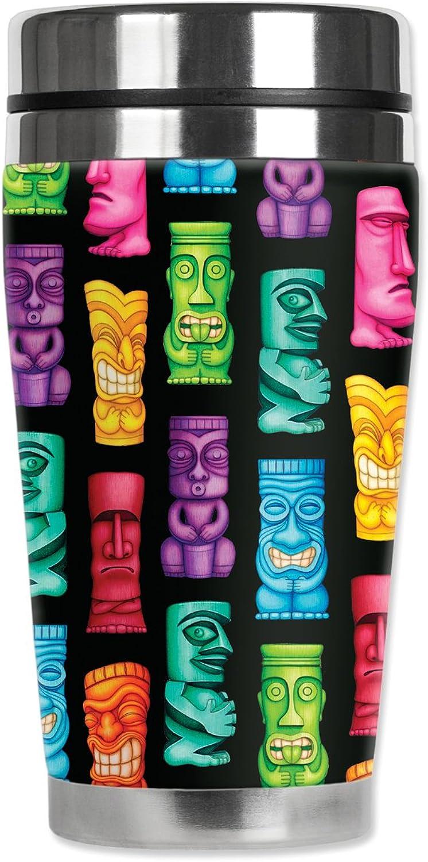 Mugzie Tikis voyage Mug with Insulated Wetsuit Cover, 16 oz, noir by Mugzie