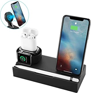 GVR Wireless Charger Stand Holder, 8 in 1 Fast Wireless Qi Charging Dock Compatible for Apple Watch/iPhone 8/8 Plus/X/Xs/XR/Xs MAX, Charging Station for Airpods/Apple Pencil (Black)
