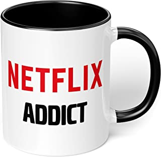 "1 Mug -""Netflix Addict"" Funny Quote - Perfect for your cuppa Coffee, Tea, Karak, Milk, Cocoa or whatever Hot or Cold Bever..."
